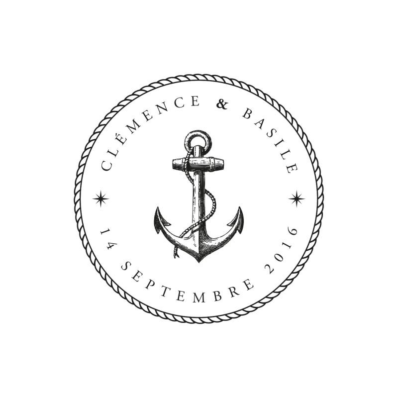 Mariage sur le th me de la mer tampon mariage encre marine - Ancre marine dessin ...