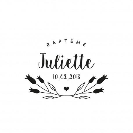 Tampon baptême tulipe et coeur