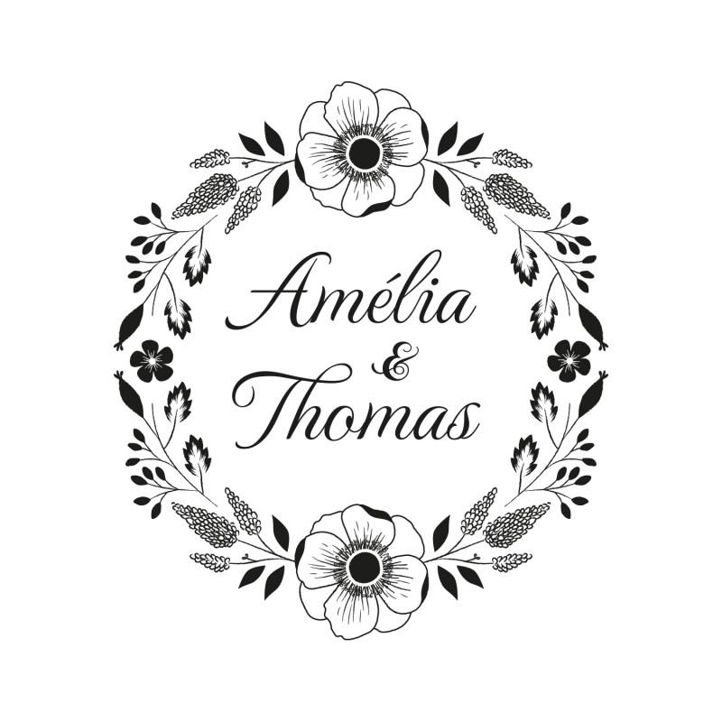 tampon mariage personnaliser illustr d 39 une couronne de fleurs. Black Bedroom Furniture Sets. Home Design Ideas