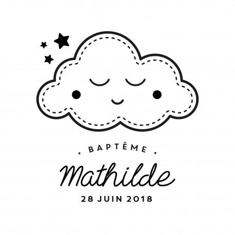 Tampon baptême nuage et étoiles