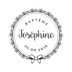 Tampon baptême personnalisé prénom et date