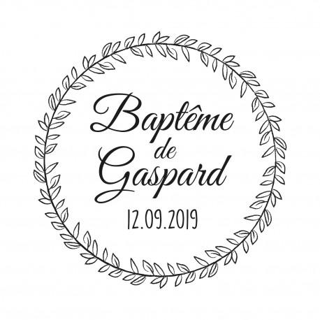 Tampon baptême personnalisé couronne végétale nature