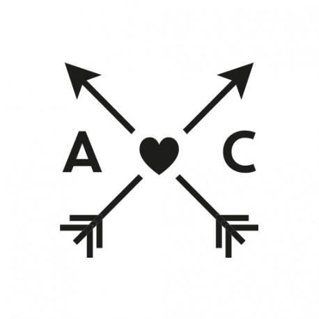 Cachet de cire initiales et flèches personnalisé pour mariage bohème