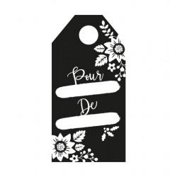 Tampon étiquette fleurs