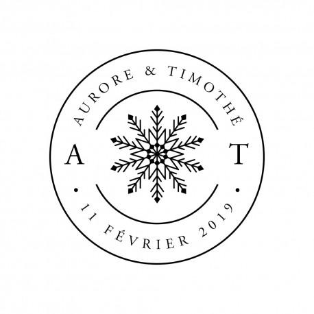 Tampon personnalisé mariage hivernal nature neige flocon