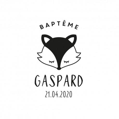 tampon en bois personnalisé renard anniversaire et baptême
