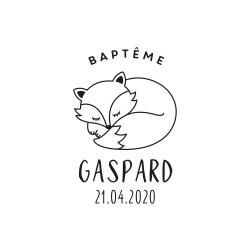 Tampon renard endormi  baptême